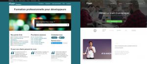 Page d'accueil de Human Coders - Avant/Après